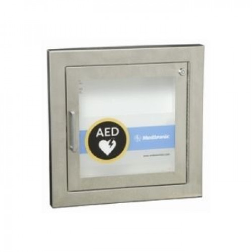 Physio-Control Semi Recessed Wall Cabinet, Stainless Steel, w/ Alarm
