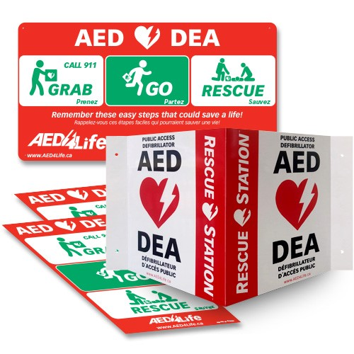 RescueStation™  AED Sign and Decal Package